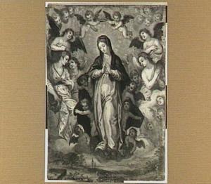 Maria als koningin der hemelen omringd door engelen