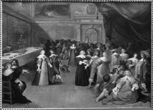 Bal in een voornaam Renaissance-paleis