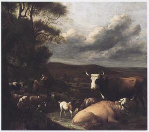 Landschap met vee en herders