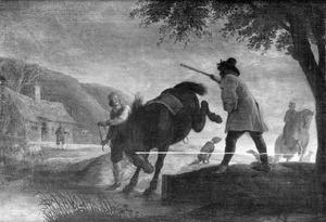 Stalknecht met bruin paard