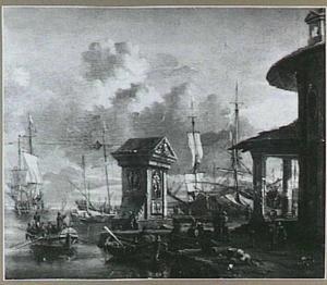 Staatiesloep en andere schepen in een mediterrane haven