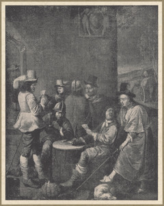 Kaartende en rokende soldaten en officieren in een wachtlokaal