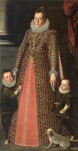 Portret van een hertogin Sforza en haar zonen