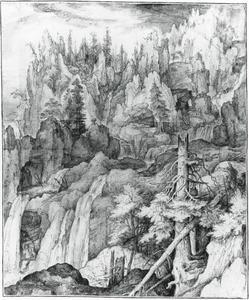 Berglandschap met waterval, regenboog en een tekenaar