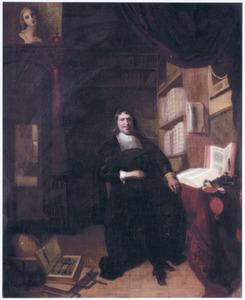 Portret van een geleerde, zittend in zijn studeerkamer
