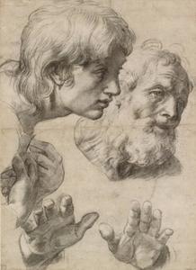 Studie van de hoofden van twee apostelen en hun handen