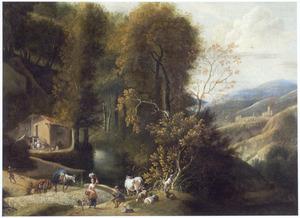 Zuidelijk landschap met herders; in de verte een herberg
