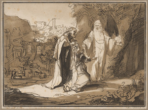 Petrus en Maria aan het graf van Christus