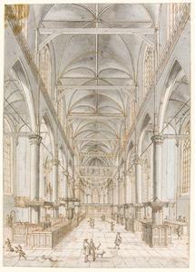 De Oude Kerk in Amsterdam in de richting van het koor