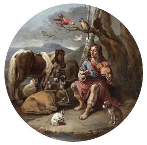 Orpheus spelend voor de dieren