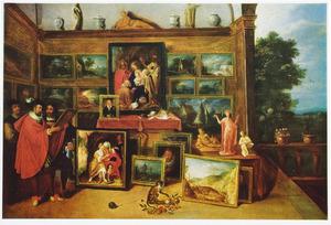 Kunstliefhebbers in een kunstgalerij; op de voorgrond een geketend aapje en rechts een doorkijk in een landschap