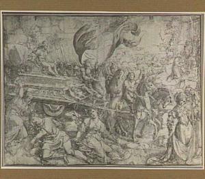 Triomf van de heldhaftige vrouw (op de triomfwagen: Fortitudo; op de voorgrond: Jael en Sisera, Lucretia, Judith)