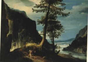 Landschap met Tobias en de engel onderweg  (Tobit 6, 1-9)