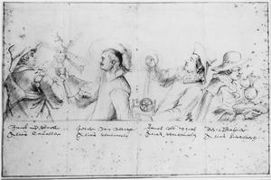 Portretten van Jacob de Wael (?-?), Peter van Utrecht (ongeïdentificeerd), Jacob uit Den Haag (idem) en Dirck van Baburen (ca. 1594/'95-1624), leden van de Schildersbent in Rome