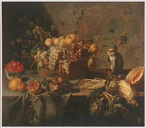 Stilleven met vruchten, groenten en een snoepend aapje