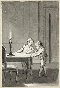 Illustratie voor 'Klaas en Pietje' in de Kleine gedichten voor kinderen door H. van Alphen