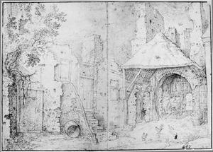 Ruïne van de poort van kasteel Brederode gezien vanuit het westen