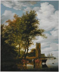 Rivierlandschap met de Pellecussenpoort bij Utrecht; op de voorgrond vee wadend in het water in de schaduw van een boomgroep
