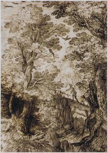 Boslandschap met figuur op een brug
