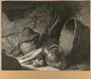 Stilleven van aardewerk en een houten kuip