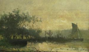 Zeilboot in een polderlandschap