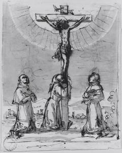 Christus aan het kruis aanbeden door drie Franciscaner monniken