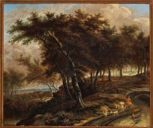 Boslandschap met herder en zijn dieren onderweg