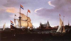 Hollandse schepen in de Sont, met op de achtergrond kasteel Kronborg