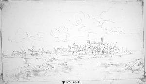 Gezicht op een stad aan de Rijn