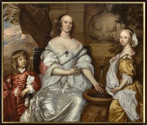 Familieportret van Maria van Reigersberg (1628-1673) en haar kinderen Jacoba van Liere (1652-1693) en Willem van Liere (1653-1706)