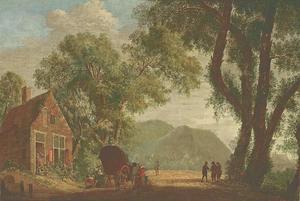 Landschap met een huifkar bij een herberg