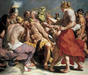 Venus, Juno en Minerva ruziën voor Jupiter over de Gouden Appel van Eris