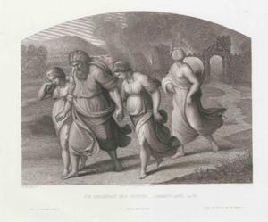 Lot en zijn familie worden door twee engelen het brandende Sodom uitgeleid. Lots vrouw kijkt om en verandert in een zoutpilaar (Genesis 19:21-26)