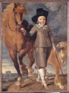Portret van een 6-jarige jongen met paard en hond, met Alkmaar op de achtergrond