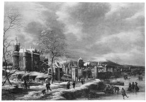 Schaatsters op een rivier bij een stad (de Lek bij Wijk bij Duurstede?)