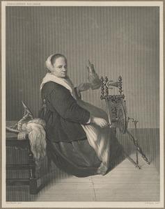 Vrouw aan een spinnewiel