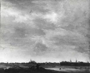Gezicht op Ilpendam vanuit het zuidwesten; links de Hervormde Kerk, rechts kasteel Ilpenstein (van 1630 tot 1677 in het bezit van Frans Banning Cocq)