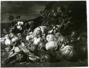 Een groente- en vruchtenstillleven met een papegaai, een eekhoorn and een aap in een landschap