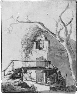 Houten brug over een beek bij een huisje