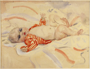 Baby in rood gestreept jasje