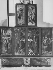 Het huwelijksfeest te Kana, de Gregoriusmis (buitenzijde linkerluik); De Gregoriusmis, het Laatste Avondmaal (buitenzijde rechterluik); Melchizedek zegent Abraham (buitenzijde bovenluiken); Vera Icon (predella)