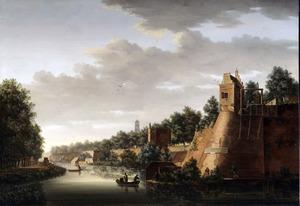 Gezicht op de stadswal van Utrecht met rechts het bastion Zonnenburg, in het midden de Servaastoren en op de achtergrond de zuidelijke toren van de Nicolaaskerk