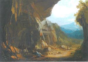 Landschap met grot met struikrovers met hun buit