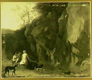 Nimfen bij een rivier aan de voet van een rotswand