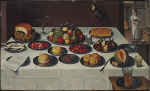 Stilleven met diverse schalen met vruchten, kazen en wafels, rechts een doorkijk naar een meid in de keuken