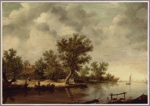 Rivierlandschap met vissers in een bootje aan de wal