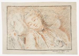 Slapende jonge vrouw met hond