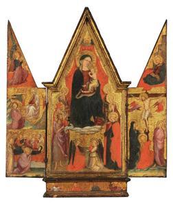 De engel van de Annunciatie, Madonna van Cintola en het sterfbed van Maria (binnenzijde links); Maria met kind met heiligen en engelen (binnenzijde midden); de Annunciatie en Kruisiging (binnenzijde rechts); vier heiligen (predella)
