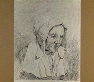 Kop van een oude vrouw, naar rechts