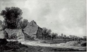 Landschap met een boerderij aan een landweg